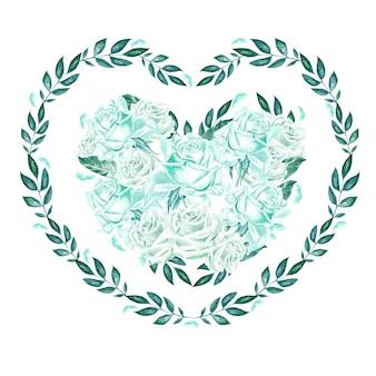 バラと葉を持つ水彩心