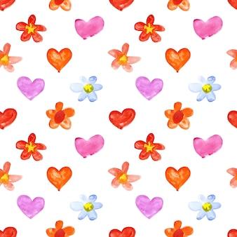水彩の心と花-ラスターシームレスパターン