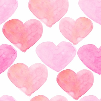 Watercolor hearts seamless background