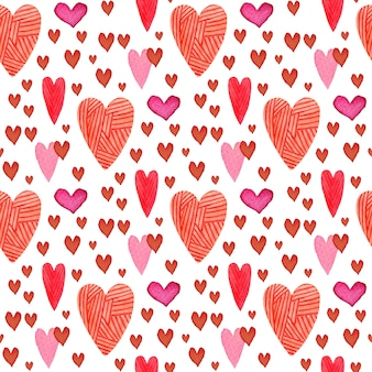 Watercolor hearts seamless pattern.