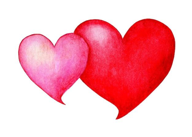 一緒に水彩の心バレンタインデーの愛のシンボルイラスト