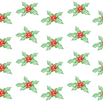 Watercolor holly seamless pattern