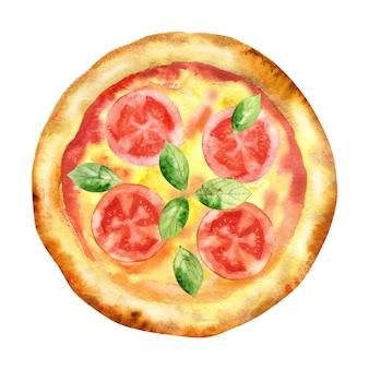 トマトとバジルの水彩画の自家製ピザ