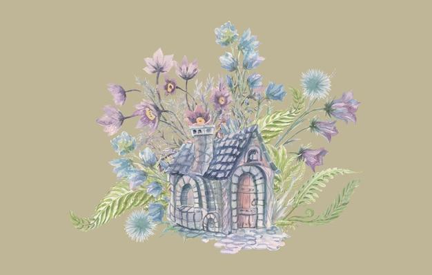 수채화 집과 꽃 손으로 그린 그림 인쇄 섬유 어린이 만화 귀여운 현실감