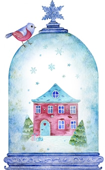 Watercolor houseand trees in the blue christmas snow globe under flying snowflakes. new year symbol. christmas card.