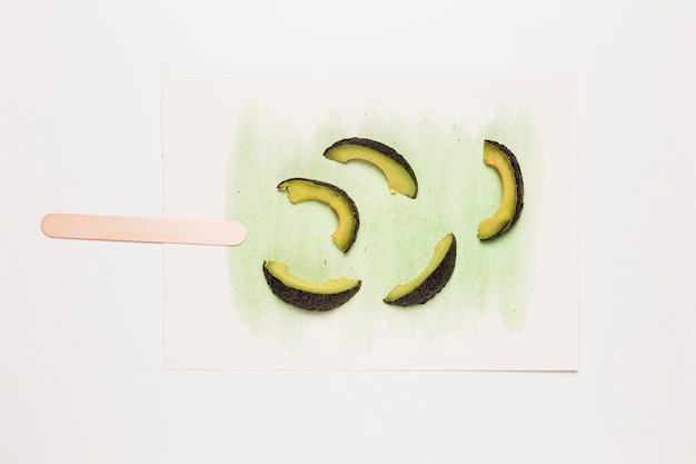 Watercolor ice cream with avocado