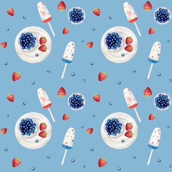 Watercolor icecream seamless pattern. watercolor hand drawn summer beach print.