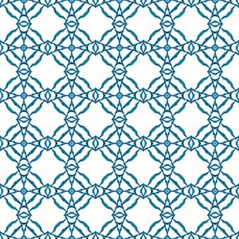 タイルの境界線を繰り返す水彩画の絣。ブルーチャーミングな自由奔放に生きるシックな夏のデザイン。イカット繰り返し水着デザイン。テキスタイル対応のエネルギッシュなプリント、水着生地、壁紙、ラッピング。