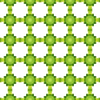 Акварель икат, повторяющаяся граница плитки. зеленый очаровательный летний дизайн в стиле бохо-шик. текстиль готов, исключительный принт, ткань для купальных костюмов, обои, упаковка. икат повторяющийся дизайн купальников.