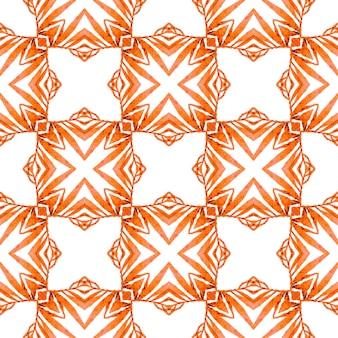 タイルの境界線を繰り返す水彩画の絣。オレンジの好感の持てる自由奔放に生きるシックな夏のデザイン。イカット繰り返し水着デザイン。テキスタイル対応の注目すべきプリント、水着生地、壁紙、ラッピング。