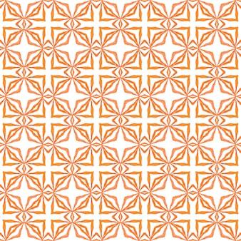 タイルの境界線を繰り返す水彩画の絣。オレンジ色のモダンな自由奔放に生きるシックな夏のデザイン。イカット繰り返し水着デザイン。テキスタイルレディディバインプリント、水着生地、壁紙、ラッピング。