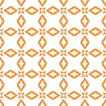 タイルの境界線を繰り返す水彩画の絣。オレンジオリジナルの自由奔放に生きるシックな夏のデザイン。イカット繰り返し水着デザイン。テキスタイル対応の見事なプリント、水着生地、壁紙、ラッピング。