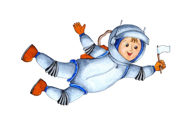 Watercolor illustration of an astronaut soars in outer space