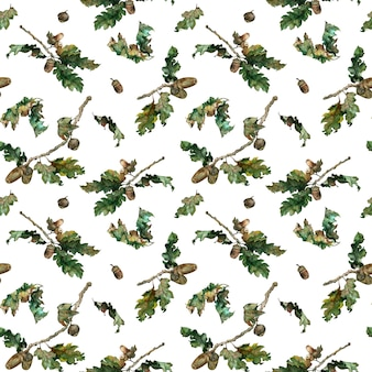 Watercolor illustration of autumn leaves pattern.