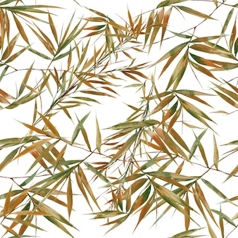 Watercolor illustration of bamboo leaves  seamless pattern