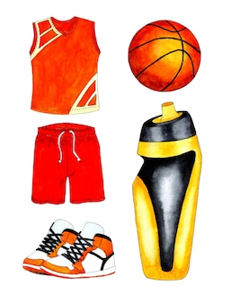 Watercolor illustration basketball set uniform jersey and shorts sneakers ball and water bottle a