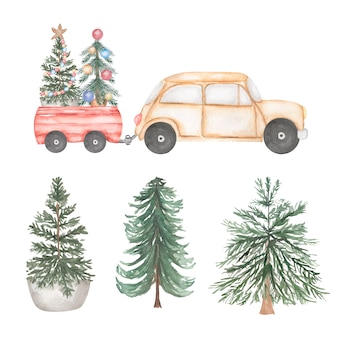 Watercolor illustration. beige car set with christmas tree and gifts