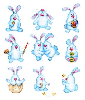 귀여운 파란색 부활절 토끼의 수채화 그림 큰 집합입니다. 어린이를위한 토끼 만화 그리기. 부활절, 종교, 전통. 흰색 배경에 고립. 손으로 그린.