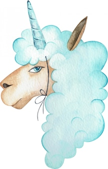 Watercolor illustration of a blue suspicious alpaca with a horn on the head. a unicorn llama portrait.