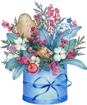 Watercolor illustration of blue winter bouquet made from cotton flowers