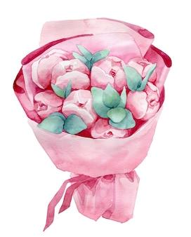 ピンクの紙で牡丹とユーカリの水彩イラスト花束