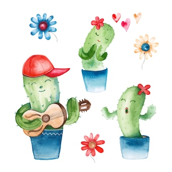 Watercolor illustration of a cactus in a romantic style
