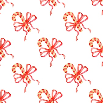 Watercolor illustration of candy and red ribbon pattern seamless repeating holiday print