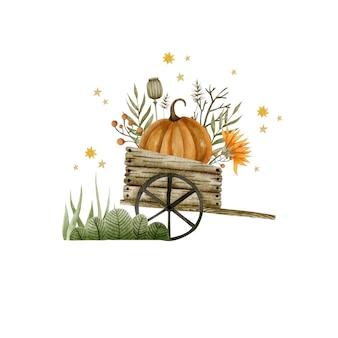 Акварельная иллюстрация тележка с тыквами осенние растения праздник хэллоуин привет октябрь осень