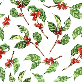 Watercolor illustration coffee tree branch leaves beans seamless repeating pattern nature