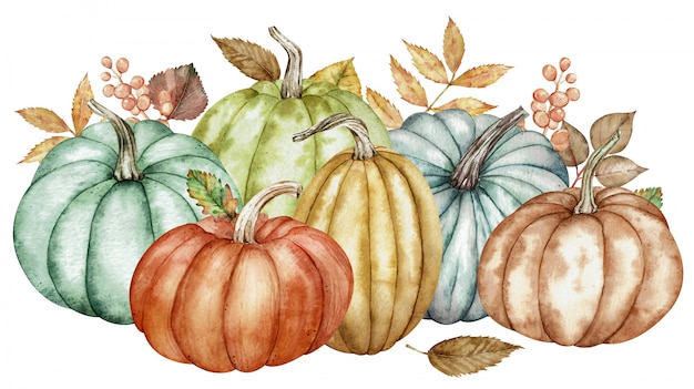 Watercolor illustration of colorful pumpkins and autumn leaves
