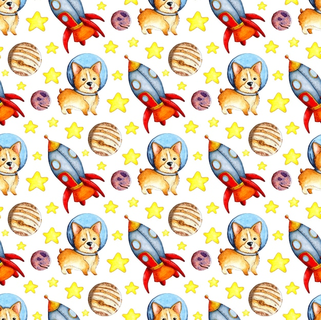 Watercolor illustration of a corgi pattern in space planets rocket and stars