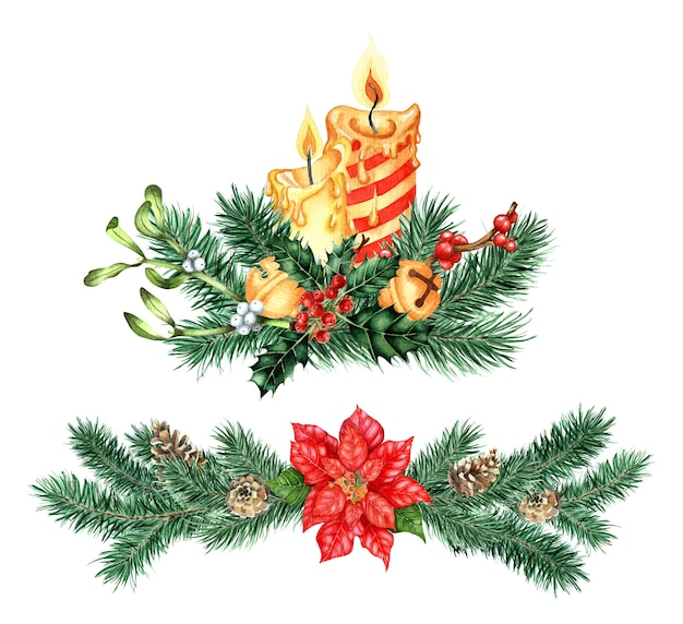 Watercolor illustration of decor for christmas and new year festive set of bouquet with candles