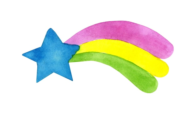 Watercolor illustration in doodle flat cartoon style color drawing of a comet a cute star