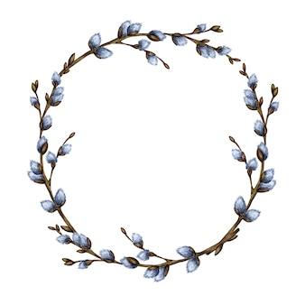Акварельные иллюстрации пасха круглая рамка венок из ветвей вербы. изолированный элемент дизайна для приглашений, поздравительных открыток, плакатов, концепций печати этикеток. граница