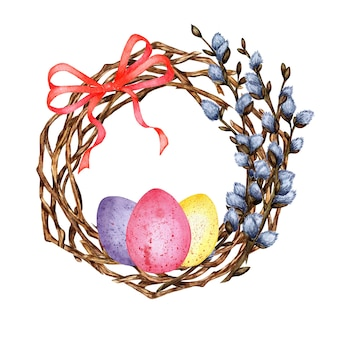 Watercolor illustration of an easter wreath made of twigs and willow branches with a bow and painted eggs decor for the holiday religion tradition easter isolated on white background drawn by hand
