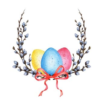 Watercolor illustration of an easter wreath made of twigs and willow branches with a bow and painted eggs. decor for the holiday. religion, tradition, easter. isolated on white background.