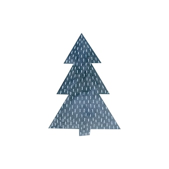 Watercolor illustration of a fir tree isolated on white background