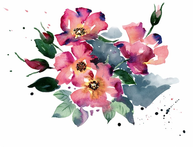 Watercolor illustration of flowers pink and magenta colors green leaves on white surface stylized abstraction