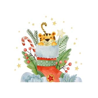Акварельные иллюстрации на новый год тигра рождество с праздником поздравительная открытка