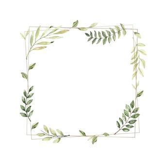 水彩イラスト。植物の枝と葉を持つ幾何学的な金色のフレーム。緑。