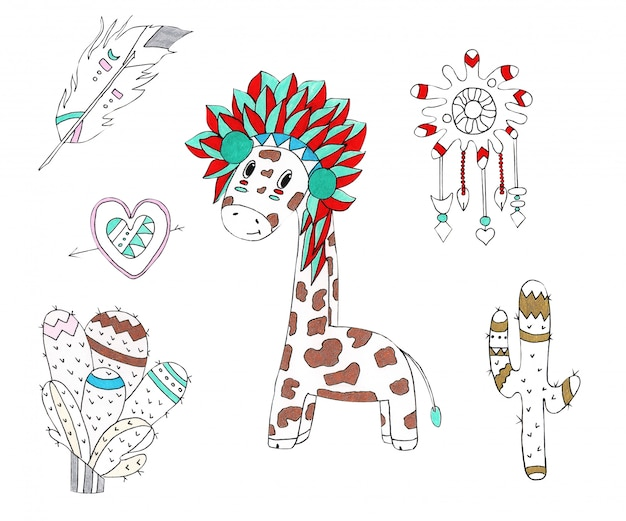 Watercolor illustration of a giraffe in the native style