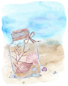 Watercolor illustration of a glass bottle with seashells and seaweed lying on the beach coast. marine composition.