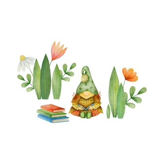 Watercolor illustration of a gnome girl reading a book isolated on a white background