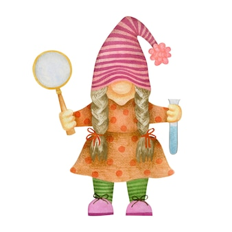 Watercolor illustration of gnome girl with magnifying glass and test tube school