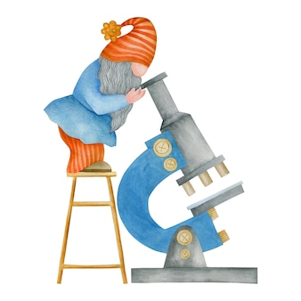 Watercolor illustration of a gnome with a microscope at school isolated on white background