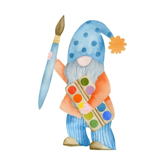 Watercolor illustration of a gnome with a paintbrush at school isolated on a white background