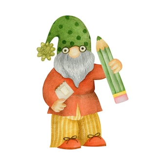 Watercolor illustration of a gnome with a pencil at school isolated on a white background