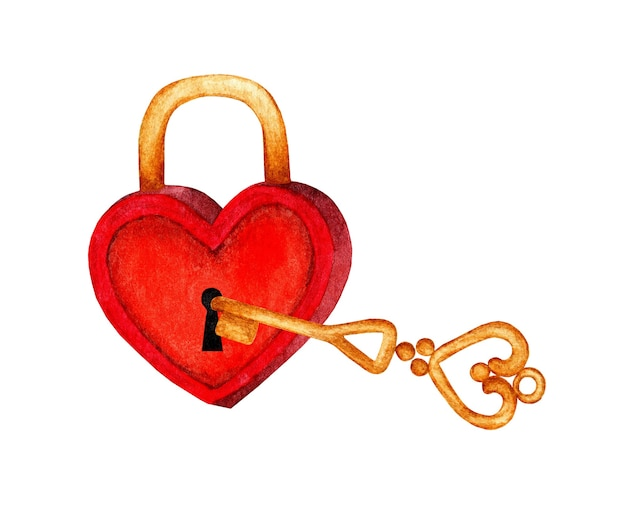 Watercolor illustration of a golden key opening a red heart shaped lock