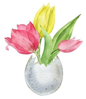 水彩イラストハッピーイースター。卵殻の春の花。グリーティングカード。白い背景で隔離のシェル花瓶のピンクと黄色のチューリップ。