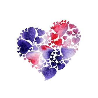 Акварельная иллюстрация сердечки из сердечек в розово-лиловом цвете праздничная открытка на день святого валентина